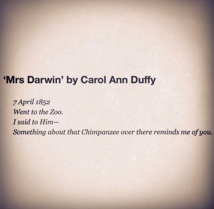 Mrs Darwin by Carol Ann Duffy