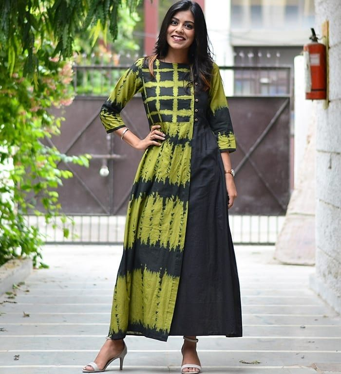 Green and Black Tie and Dye A-line Long Kurti