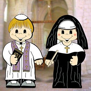 "Dress-Up Darlings - Priest & Nun Outfits DIY Woodcraft Pattern #2107 - Great project for vacation bible school and they will look great in your churches nursury or class rooms. Largest (boy) is 30""H x 17""W. 2 Designs! Pattern by Sherwood Creations #woodworking #woodcrafts #pattern #craft #yardart #church"