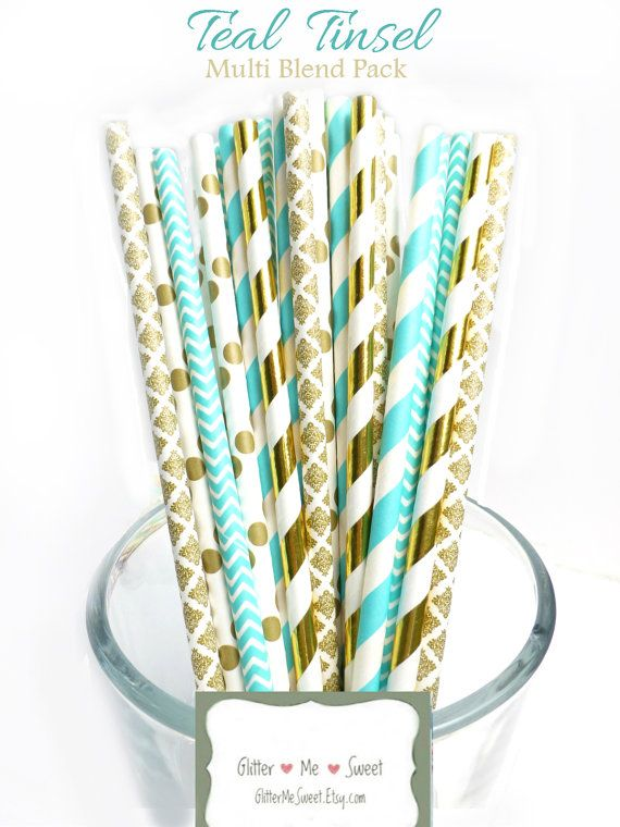 Teal Baby Shower Decorations, Teal and Gold Wedding Decor, Turquoise Paper Straws, Teal Bridal Shower, Rustic Wedding Decor, Garden Party