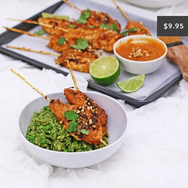 YouFoodz | Satay Tenders with Green Chilli Risoni $9.95 | The classic, mild peanutty chicken we all know and love, with a YF twist (of course). We've paired these juicy bad boys with a dreamy green risoni | #Youfoodz #HomeDelivery #YoullNeverEatFrozenAgain