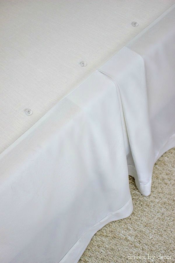 8 Simple Steps to Making the Perfect Bed - Driven by Decor - Use upholstery twist pins to secure your bed skirt to the box-spring, holding it in place even through sheet changes.