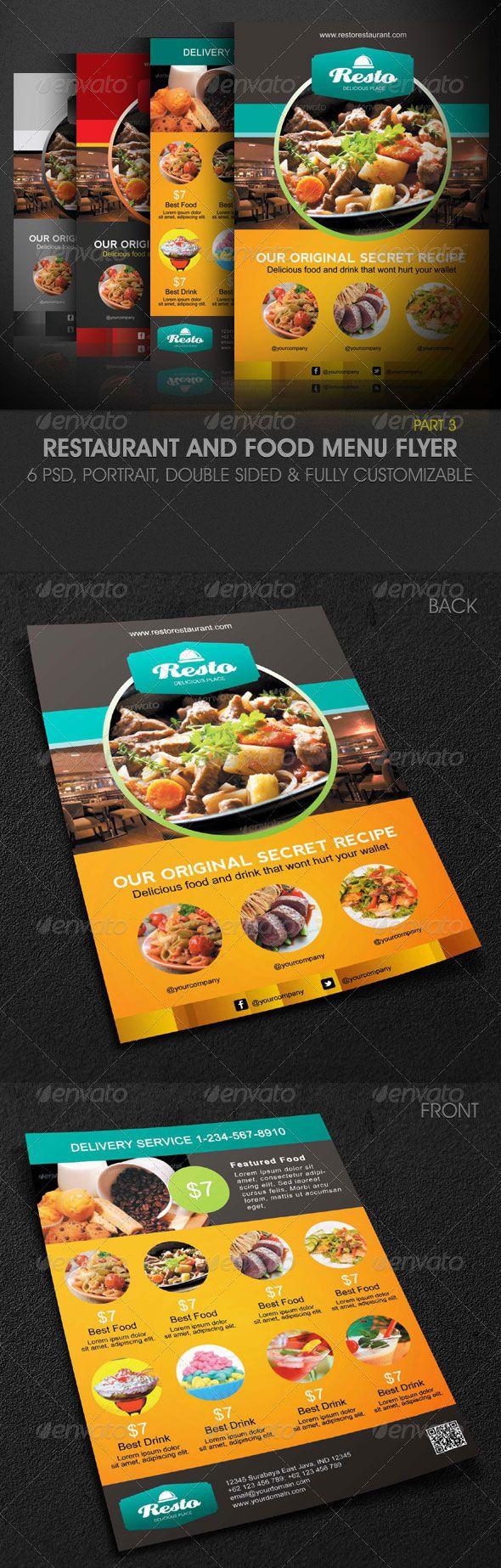 Attractive Modern Restaurant and Food Menu Flyer