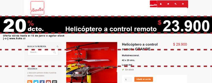 Helicóptero a control remoto GRANDE con 20% dcto. Solo $23.900