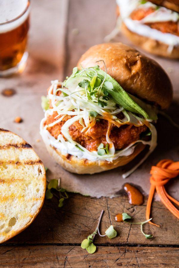 Healthier Oven Fried Sweet Tea Buffalo Chicken Sandwich