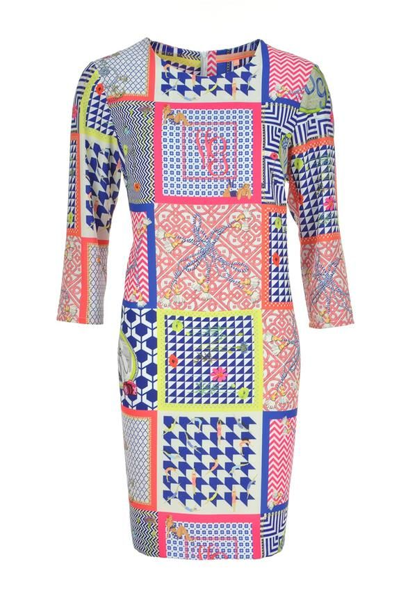 Vilagallo Class Checked Multi Print Cropped Sleeve Tunic Dress, Multi-Coloured | McElhinneys Department Store