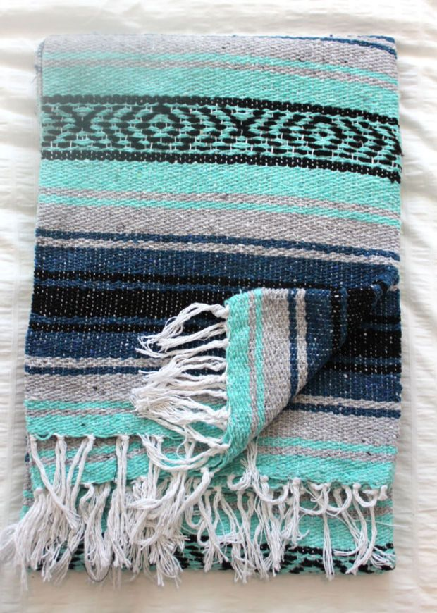 Sea Foam Mint Navy and Grey Mexican Beach Blanket Vintage Style