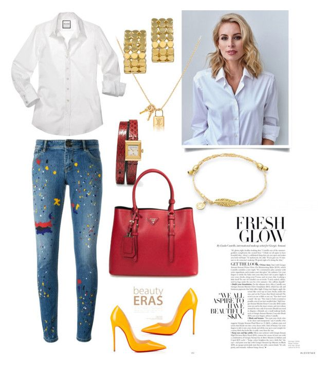 Jeans & white shirt by martika-1976 on Polyvore featuring moda, Alice + Olivia, Christian Louboutin, Tiffany & Co. and Gucci