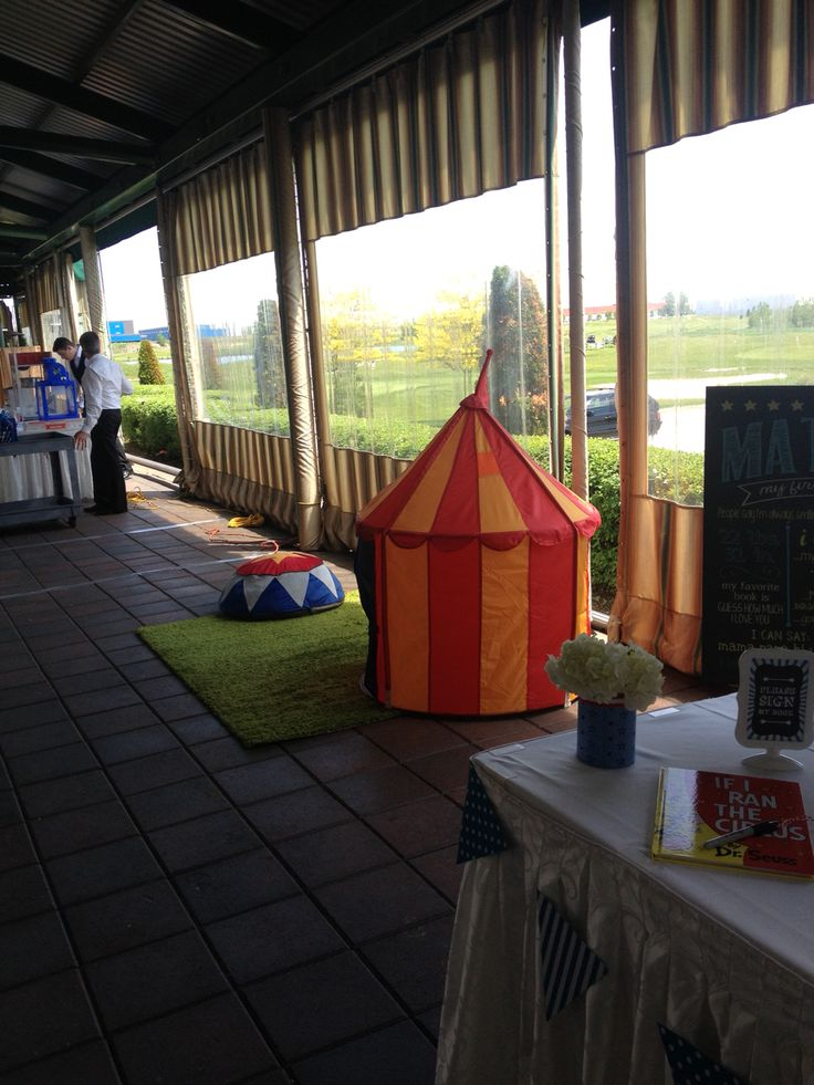 Circus tent and green carpet play area. Matteo's 1st Birthday.