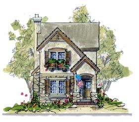 1700 sf country european elevation of plan 66631