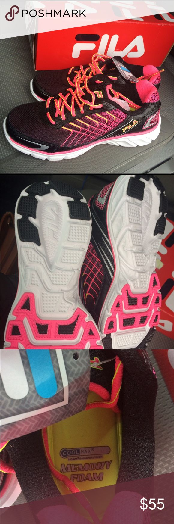 Fila black/pink Cool Max Memory foam Sneakers New in box. Fila memory foam sneakers. Size 8.5 Fila Shoes Athletic Shoes