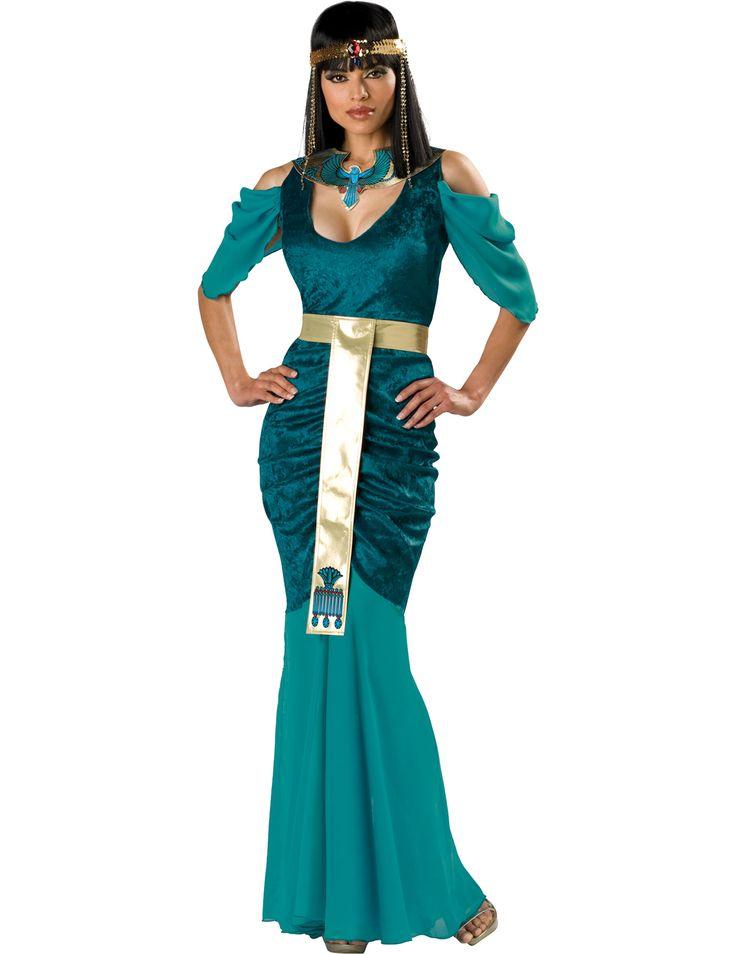 Disfraz egipcia mujer Premium: Este disfraz para adulto incluye vestido, collar, cinturón y diadema.El vestido es largo y azul con efecto terciopelo. Los hombros están cubiertos de tul fino y transparente como el...