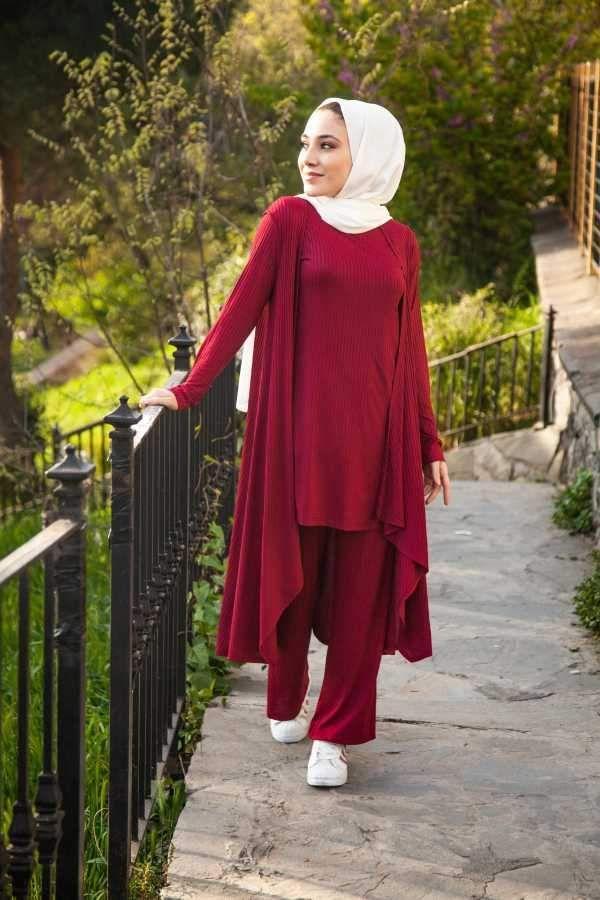 طقم جاكيت بنطلون و تونيك عنابي نسائي Fashion Hijab
