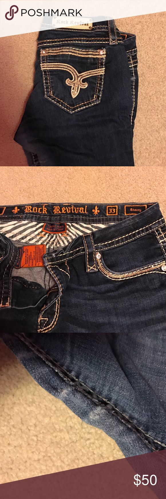 Rock Revival 33 waist 32 length Rock revival jeans. The only signs of wear are in between the legs. There is a little rip, but that can easily be fixed. Cute jeans Rock Revival Jeans Boot Cut