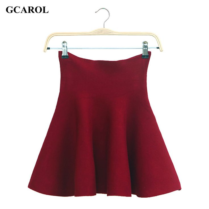GCAROL Women Pleated Mini Skirts Mercerized Cotton Bandage High Waist Skirts Vintage Casual Knitted Stretch Skirt For 4 Season