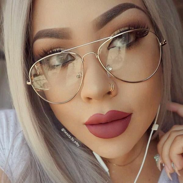 Gold Frame Glasses Tumblr : Myopia Clear Frame Glasses Women/ Men Aviator Lunette ...