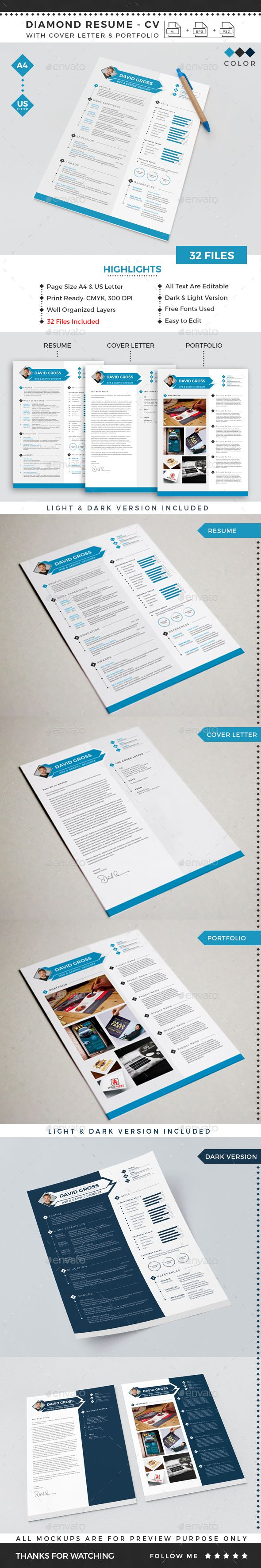 cv and covering letter%0A Diamond Resume CV Template