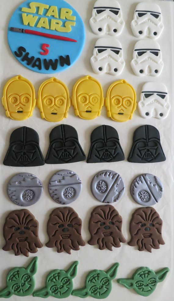 Star Wars Fondant CUPCAKE Toppers - For all your cake decorating supplies, please visit craftcompany.co.uk