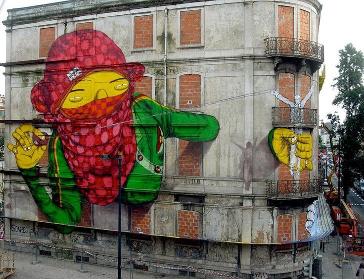 GRAFFITI -     Street Art by Os Gémeos & Blu - Lisbon, Portugal