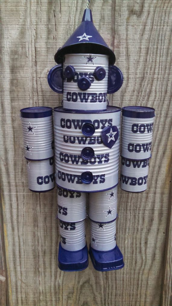 THE TIN MEN ARE NOT A LICENSED PRODUCT! THE TAPE THEY ARE WRAPPED IN IS LICENSED, BUT THE TIN MEN ARE HANDMADE.  Hand Made Dallas Cowboys Tin Man or any