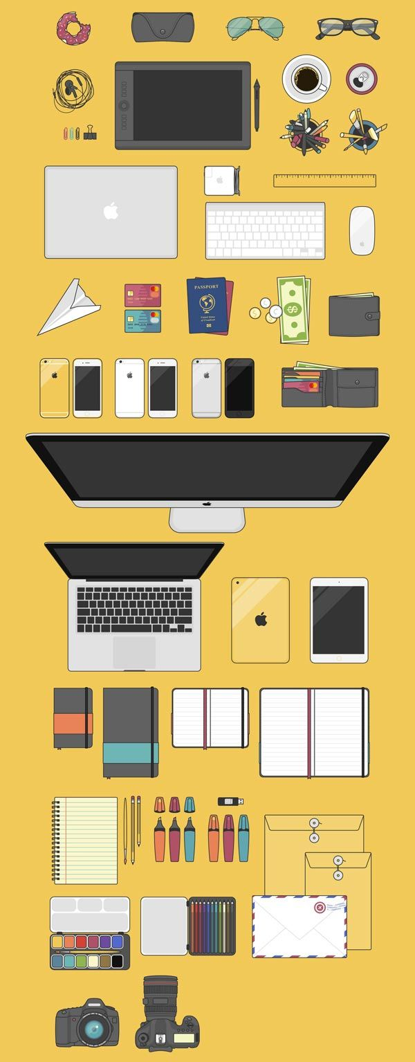 Ressources illustrations flat design à télécharger