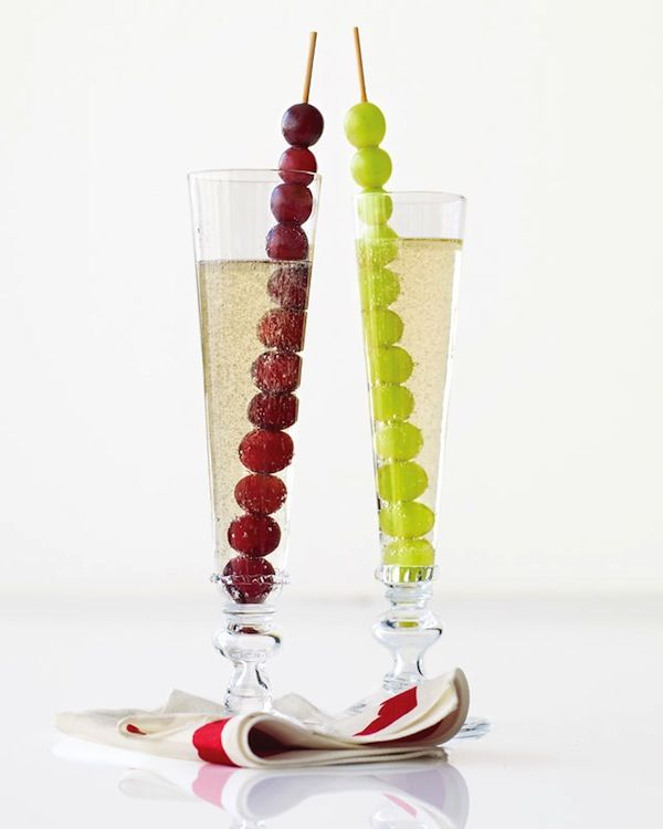 champagne and grapes to ring in the New Year