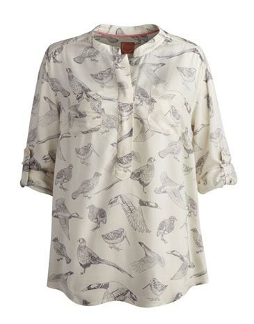 Joules null Womens Shirt, Creme Bird.                     This longer length shirt is just the thing if you're after a relaxed yet sophisticated style. In a lightweight fabric that will remain a favourable choice no matter what season it is.
