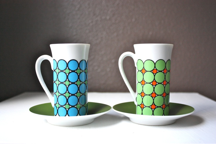 Mod Vintage Demitasse Espresso Tea Coffee Cups, Blue and Green Circles - Set of 2.