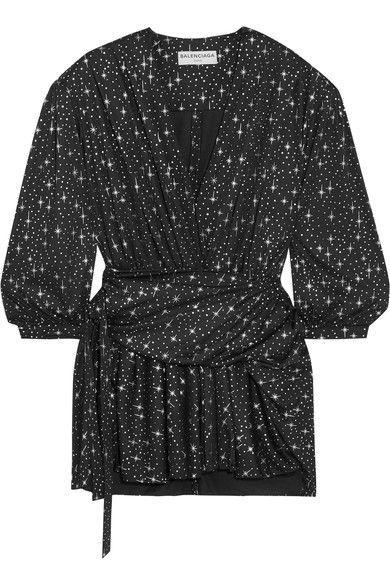 Balenciaga - Draped Metallic Printed Stretch-jersey Mini Dress - Black - FR34