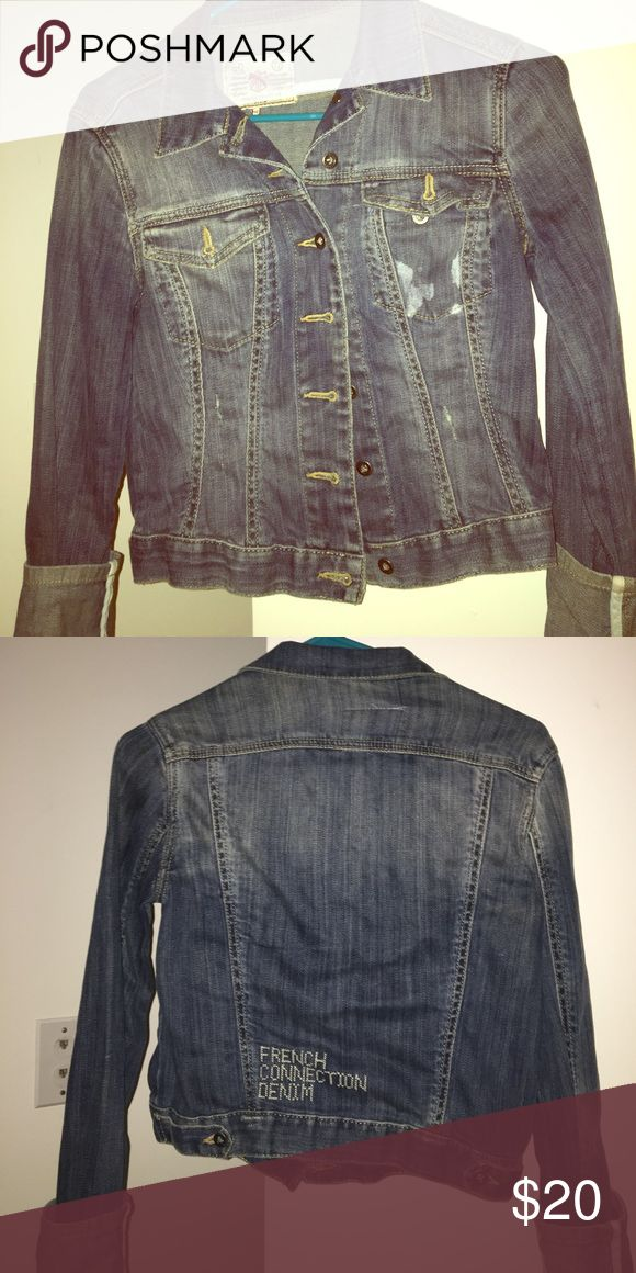 French connection Jean jacket Gently used jean jacket! Small area of discoloration around pocket. French Connection Jackets & Coats Jean Jackets