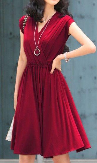V-neck long dresses Wine Red
