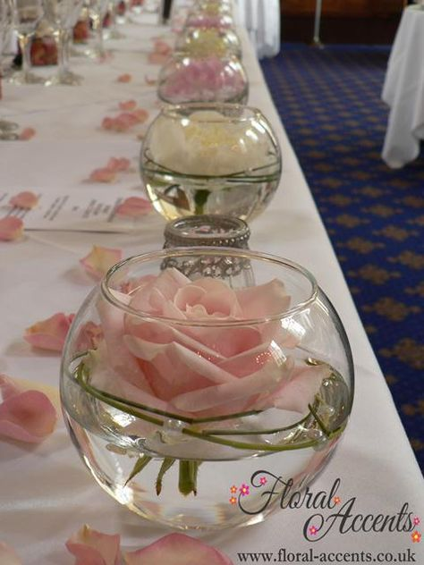 cute floating roses in mini fish bowls or candle cups. I love this! - bubble bowl