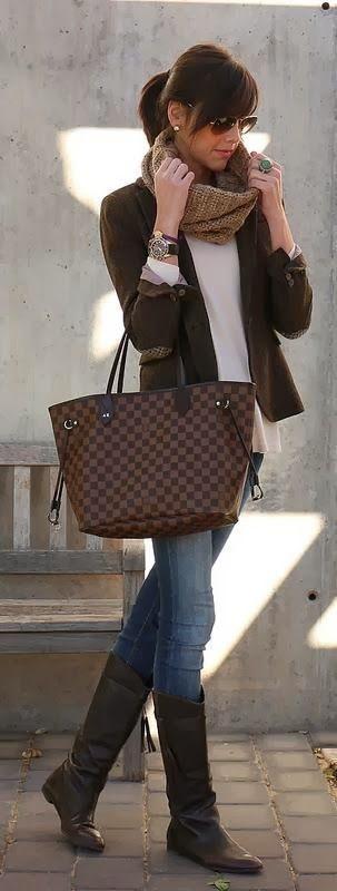 Brown handbag blazer jacket white shirt sunglasses scarf beige knitted blue jeans long boots.