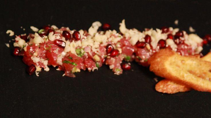 Tartare de thon rouge à la « Baby » à la pomme grenade et gingembre | Zeste
