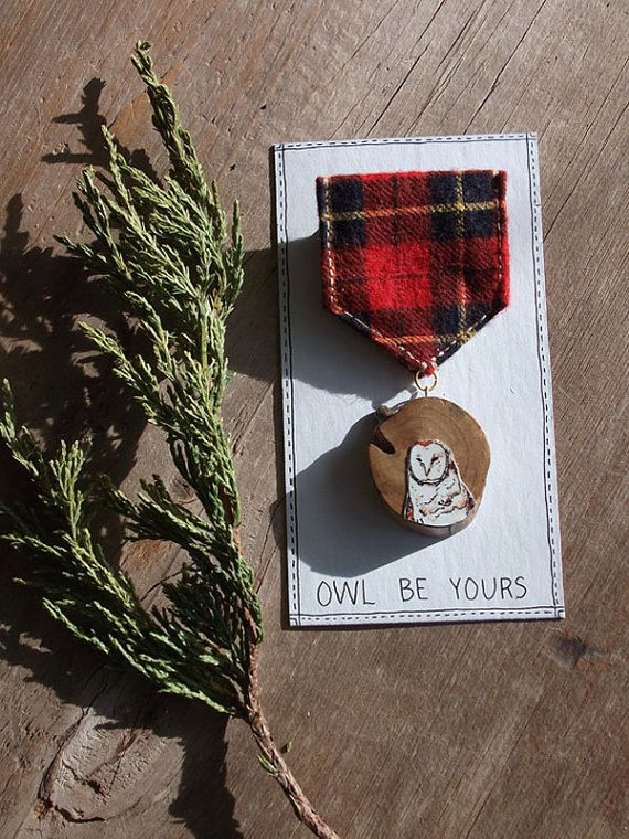Owl Merit Badge - original watercolour on a tree slice, vintage fabric - by FoxandHammer (Etsy).