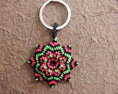Flower mandala keychain. Luck, spiritualy, love. Llaveros: Mandala en macramé