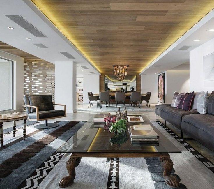 Ideen Abgehängte Decke Mit Indirekter Beleuchtung Stil: Wohnzimmer Mit Holzdecke Und Indirekter Beleuchtung