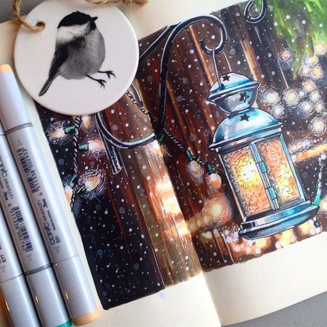 2/8. Уличный новогодний декор. Конечно- фонарики и гирлянды уличных огней! Обожаю огоньки ✨#lk_newyear от @art_markers @miftvorchestvo @tsusketch. #newyear #happychristmas