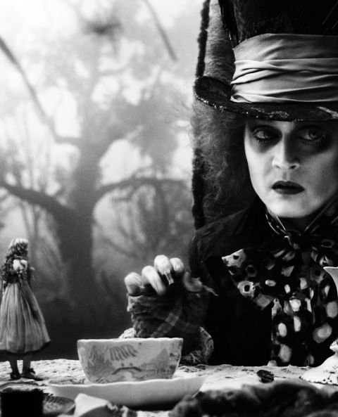 Tim Burton's Alice in Wonderland, Mad Hatter, with pretty boy Johnny Depp. Fun movie, too.