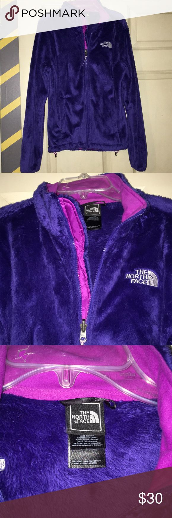 Fuzzy Purple Zip-up North Face Jacket Soft and fuzzy purple north face jacket, worn twice. Has violet accent colors and has an adjustable fit at the bottom. Size small, keeps you very warm North Face Intimates & Sleepwear