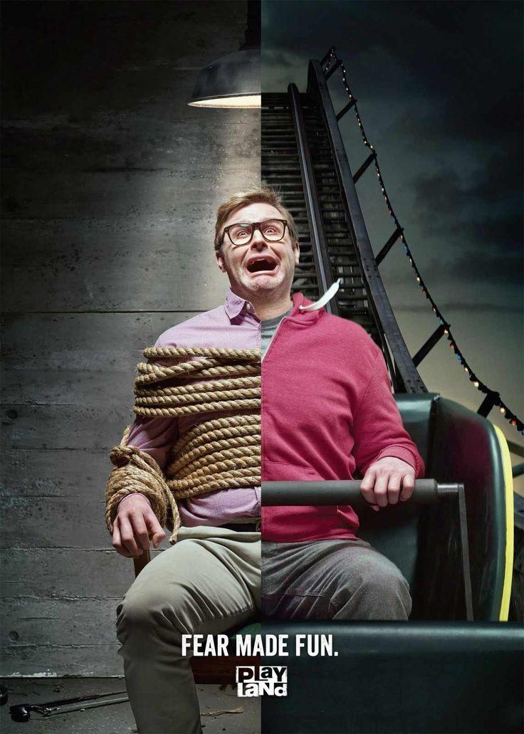 Playland: Fear made fun ad campaign. [Marketing, Advertising, Print Advertisement] #NerdMentor