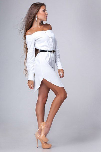 Белое платье-рубашка с открытыми плечами | МОДЕЛЬ 929 - Divine