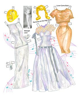 Elegant eveningwear and wigs for Doris Day paper dolls. Page 5 of 8 page book. By David Wolfe, Paperdollywood.