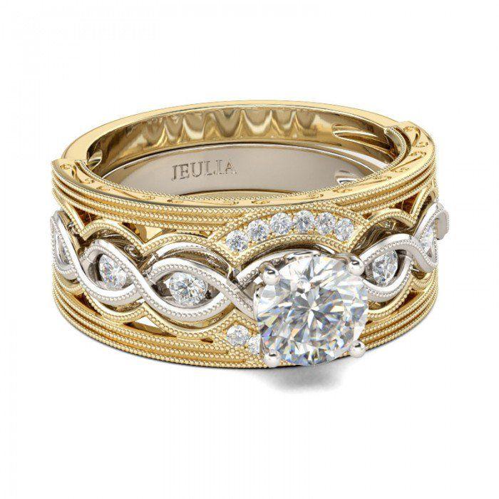Jeulia 3PC Two Tone Milgrain Round Cut Created White Sapphire Wedding Set - Jeulia Jewelry