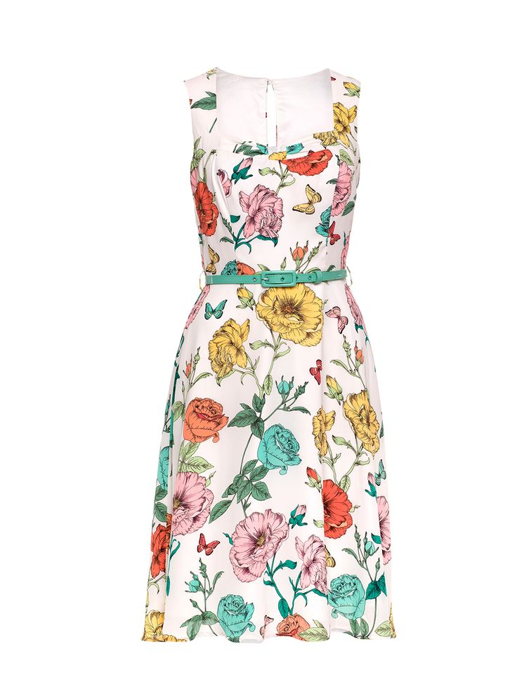 Mixed Bouquet Dress | White & Multi | Dresses
