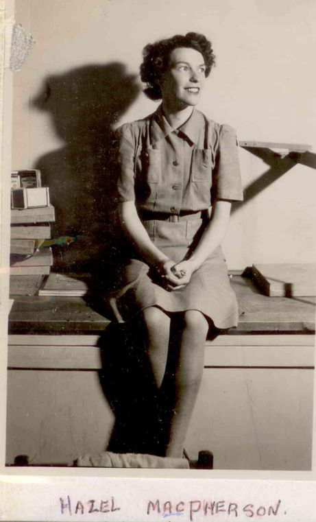 And here's another girl named Hazel MacPherson of the Royal Canadian Air Force Women's Division, looking very trim in her summer uniform, a lightweight khaki dress. For more: www.elinorflorence.com/blog/rcaf-photography.
