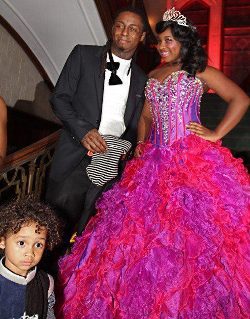 Lil wayne with his daughter and son