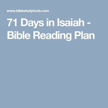71 Days in Isaiah - Bible Reading Plan