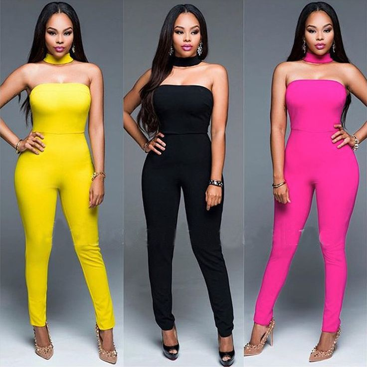 2016 Fashion Strapless Women Summer Jumpsuit Casual Solid Sexy Club Party Bodycon Overalls Black Red Yellow Rompers Piece Pants //Price: $32.01 & FREE Shipping //     #hashtag4