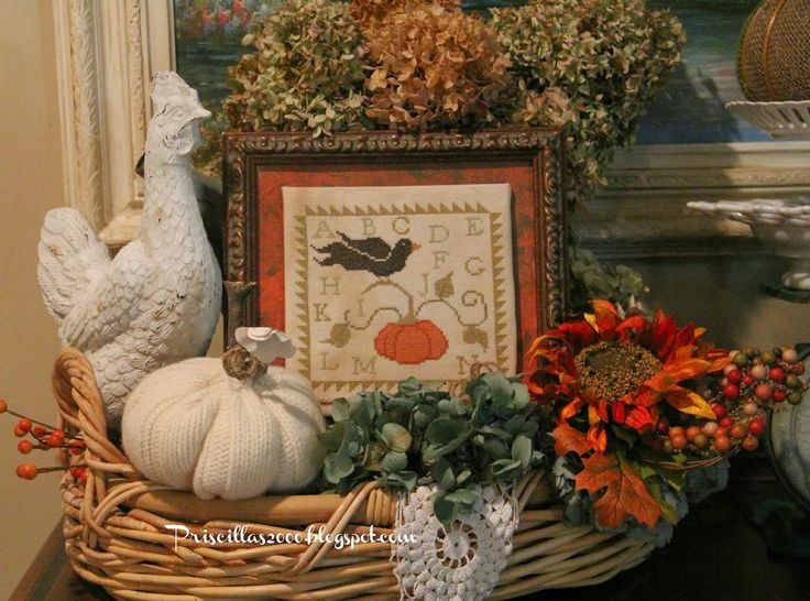 Priscillas: Fall Vignettes in the Family Room